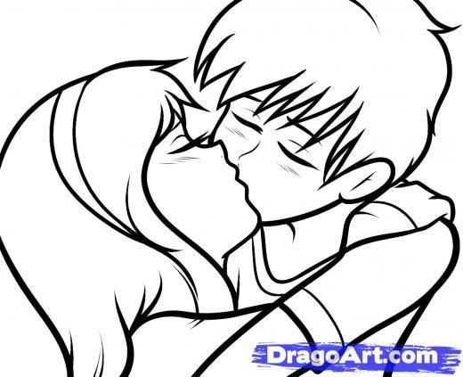 520x423 How To Draw A Boy And Girl Kissing Easy Draw So Cute