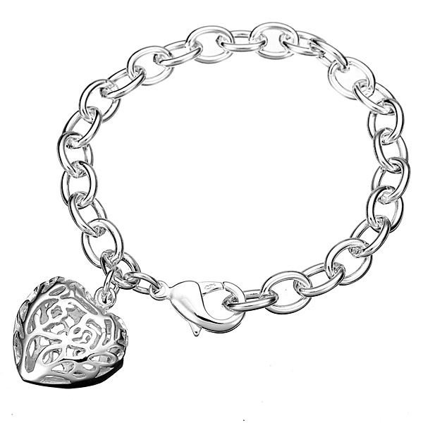 600x600 silver plated hollow heart bracelet thick metal chain bracelet