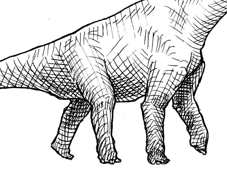 794x596 Brachiosaurus Dinosaur Decor Drawing Wall Art Print Etsy