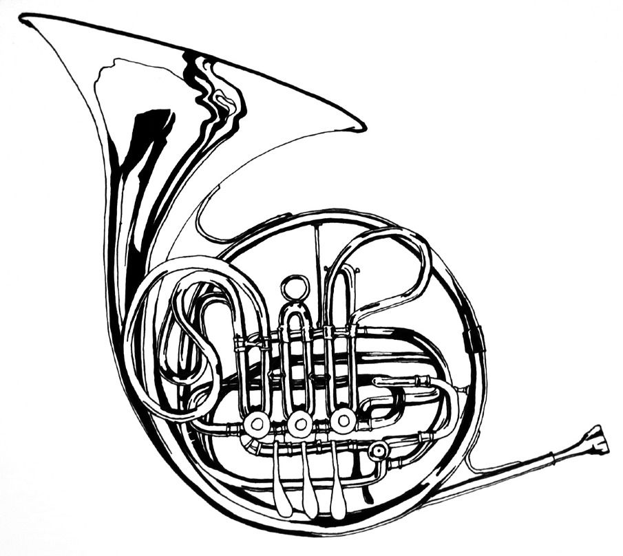 905x808 draw french horn images music french horn, french horn image
