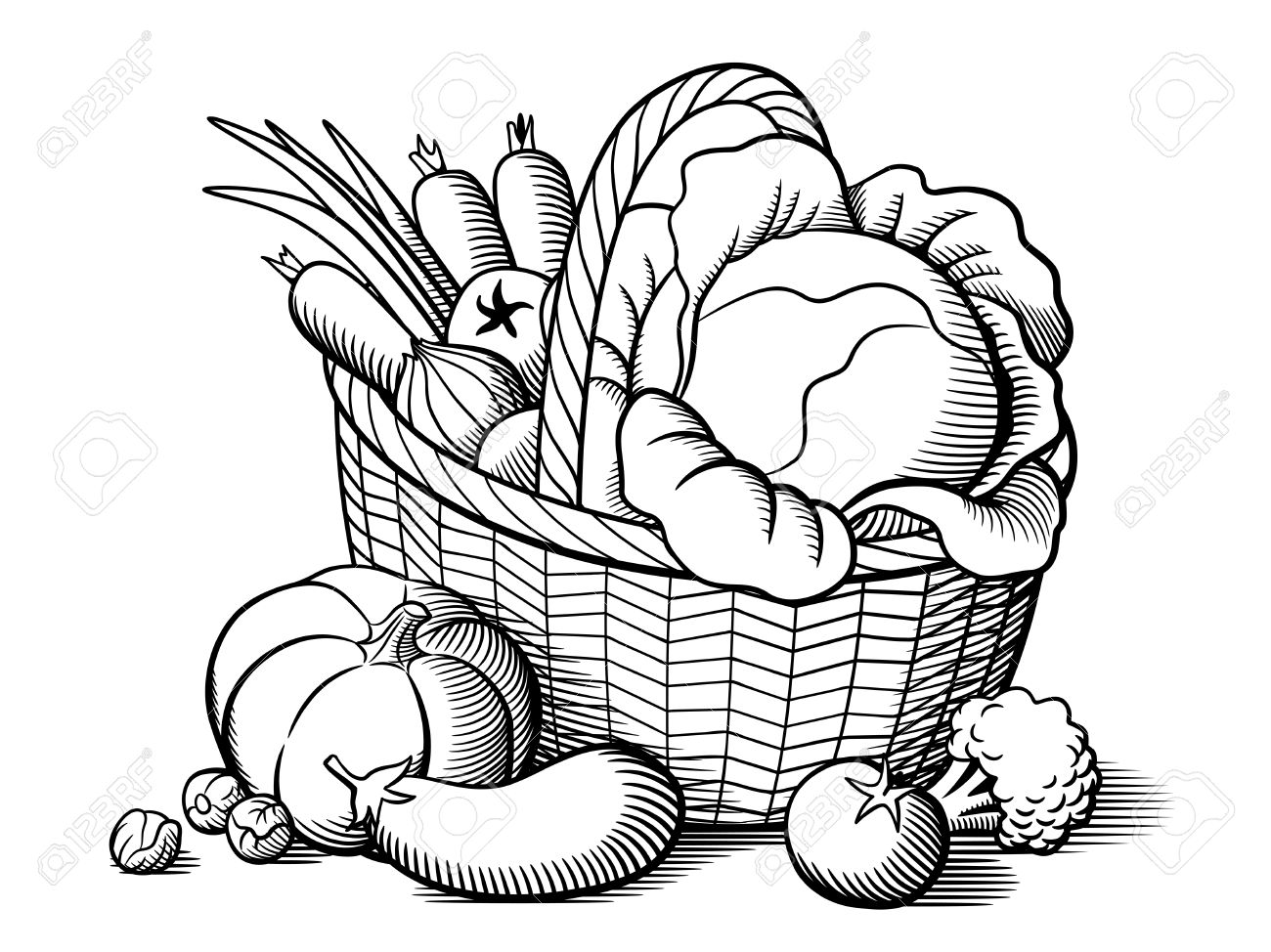1300x974 Basket Of Vegetables Clipart Black And White