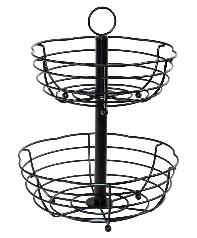 1101x1330 Tier Serving Stand Wire Fruit Bread Basket Decorative Kitchen