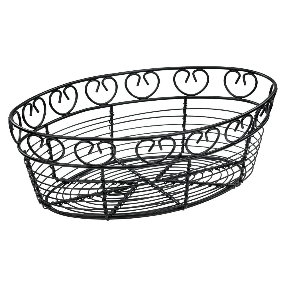 1000x1000 Winco Wbkg Oval Black Metal Wire Bread Basket