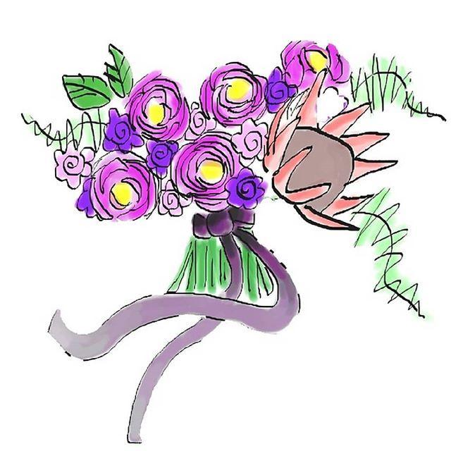 640x640 King Protea Bridal Bouquet Digital Watercolour Illustration