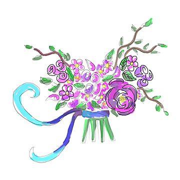 360x360 Pink And Purple Flower Bouquet Sticker