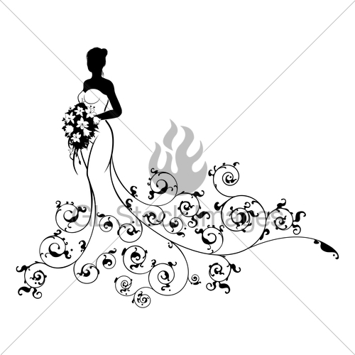 500x500 Abstract Pattern Wedding Bride Silhouette Gl Stock Images