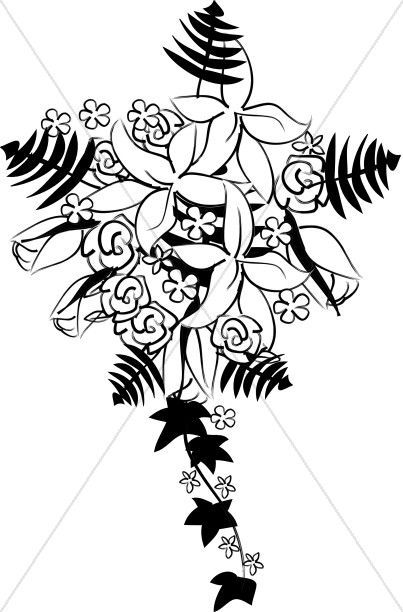 403x612 Vector Stock Bride Bouquet Wedding Silhouette Pattern Clipart