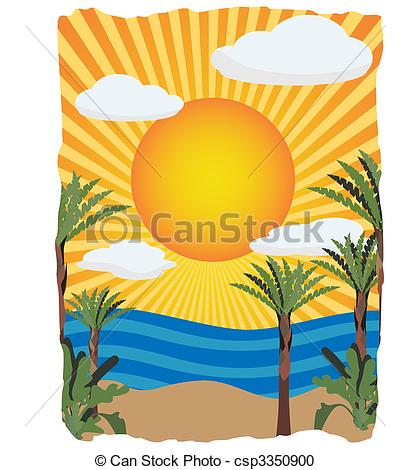 410x470 sunny bright tropical vector illustration lush bright palm