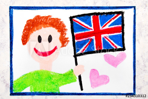 500x334 Colorful Drawing Happy Man Holding British Flag Flag