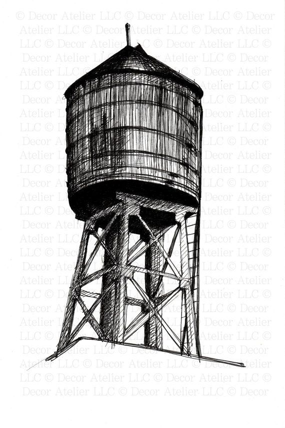 570x854 water tower line drawing wedding! water tower, drawings, tower