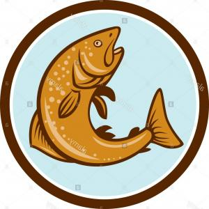 300x300 Brown Trout Jumping Drawing Vector Soidergi