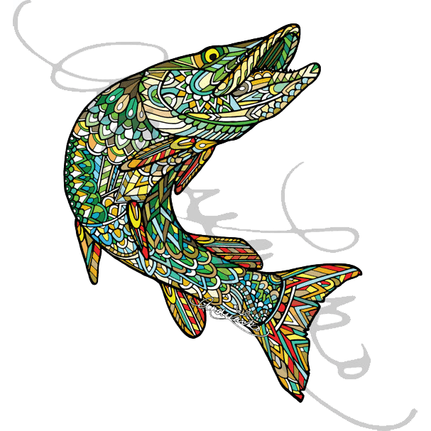 607x607 Collection Of Free Trout Drawing Zentangle Download On Ui Ex
