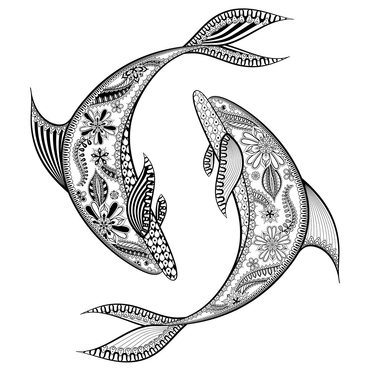 1200x1200 Trout Drawing Zentangle For Free Download