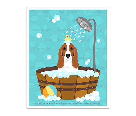 570x489 bath art basset hound dog in bubble bath bathtub wall art etsy