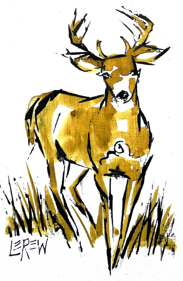586x900 White Tail Buck Deer Drawing