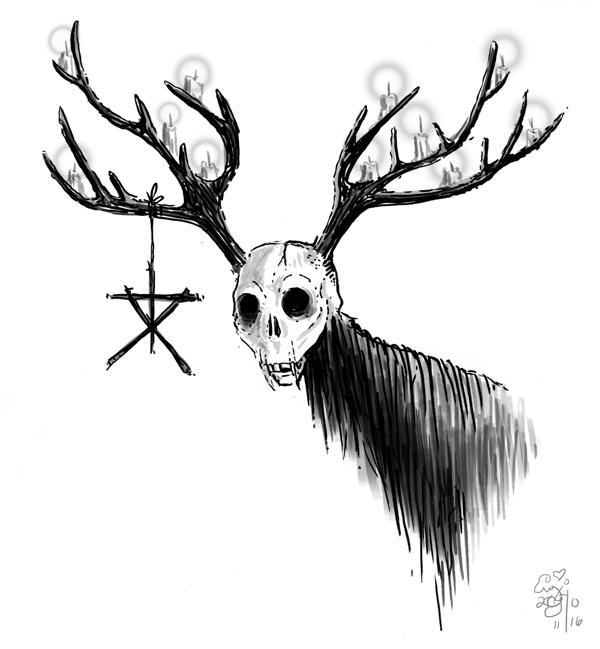 Buck Skull Drawing