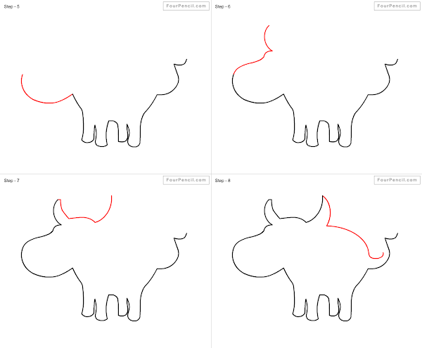 600x495 Fpencil How To Draw Buffalo For Kids Step