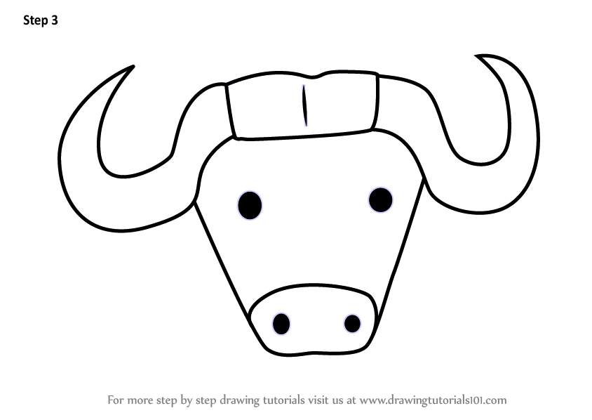 844x598 Learn How To Draw An African Buffalo Face For Kids