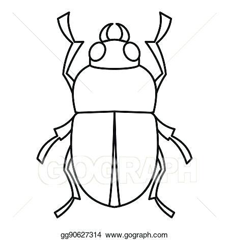450x470 bug outline bug symbol with outline beetle stock illustration