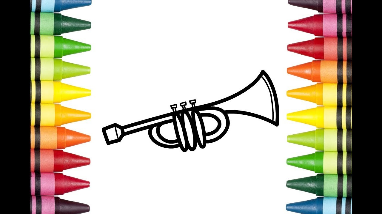 1280x720 how to draw a trumpet for kids trumpet drawing lesson step