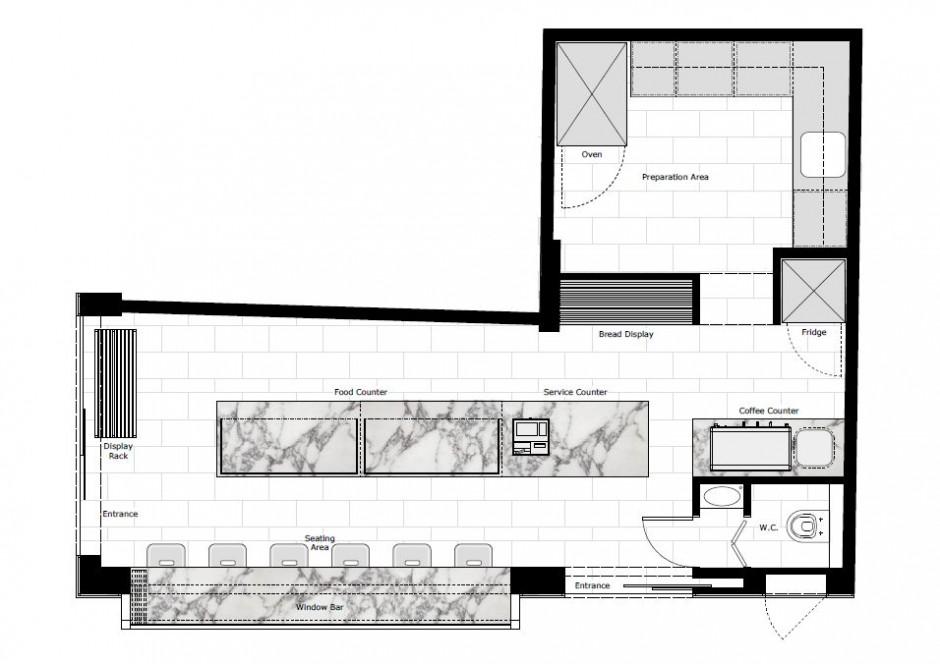 940x664 bakery floor plan sample floor, interior dwg kitchen elevation