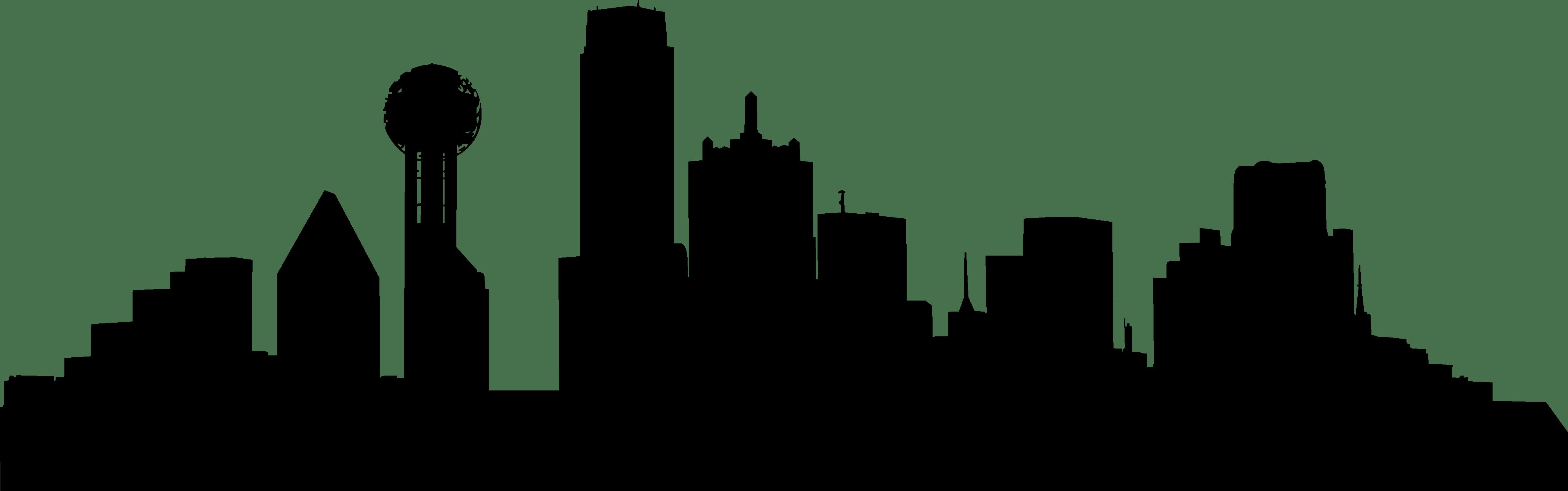 4116x1289 Simple Drawing Dallas Skyline