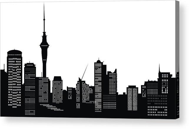 642x438 A Vector Silhouette Of Auckland City Skyline Acrylic Print