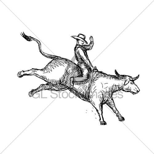 500x500 Bull Riding Rodeo Cowboy Drawing Gl Stock Images