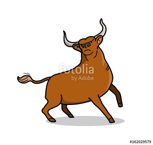 500x475 Brown Bull, A Hand Drawn Vector Cartoon Of A Bull With Big Horns