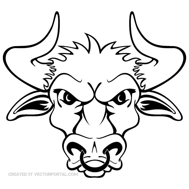 660x660 Bull Head With Sharp Horns Free Vector