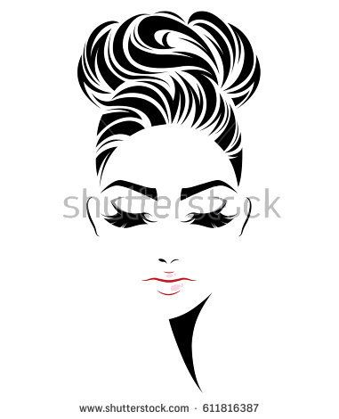 381x470 illustration of women bun hair style icon, logo women face