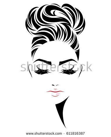 381x470 illustration of women bun hair style icon, logo women face