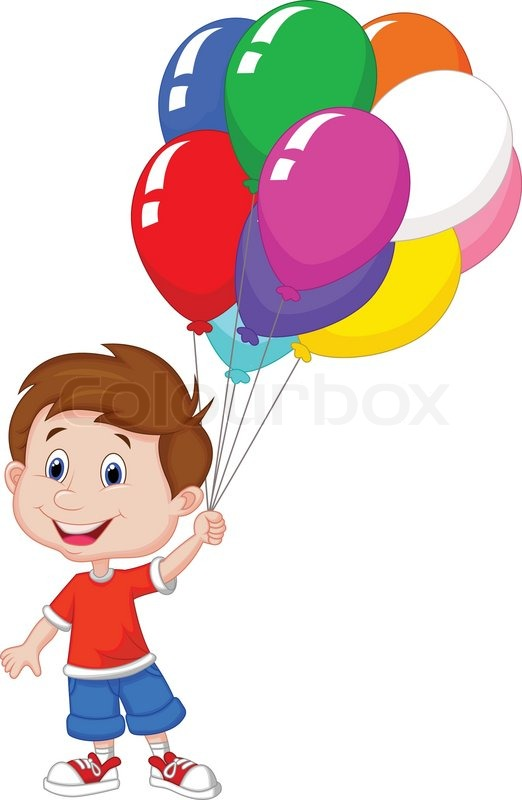 522x800 Cartoon Boy With Bunch Of Colorful Stock Vector Colourbox