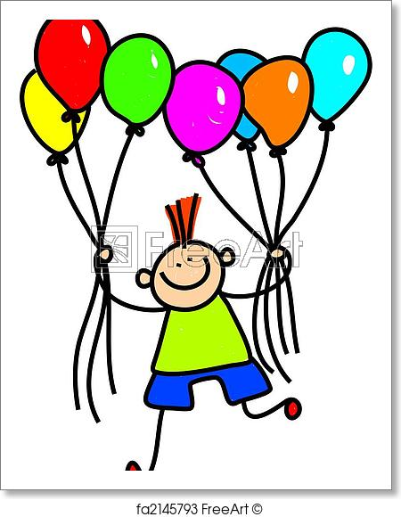 450x580 Free Art Print Of Balloon Boy Whimsical Drawing Of A Cute Little