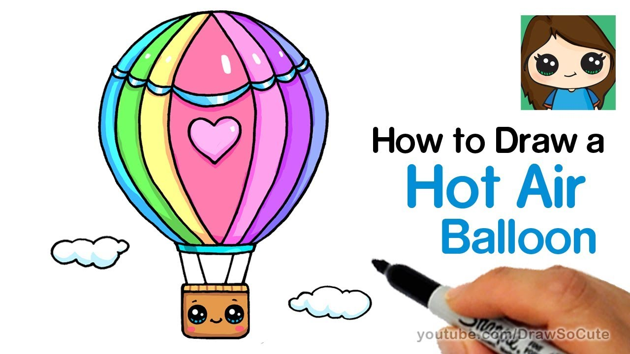 1280x720 How To Draw A Hot Air Balloon Cute Easy