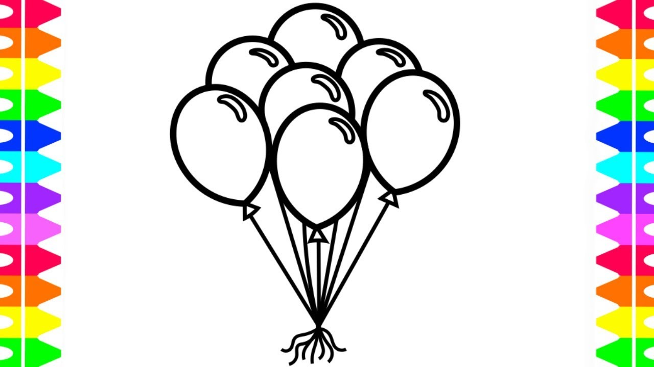 1280x720 Learn How To Draw And Color Balloons Coloring Pages For Kids