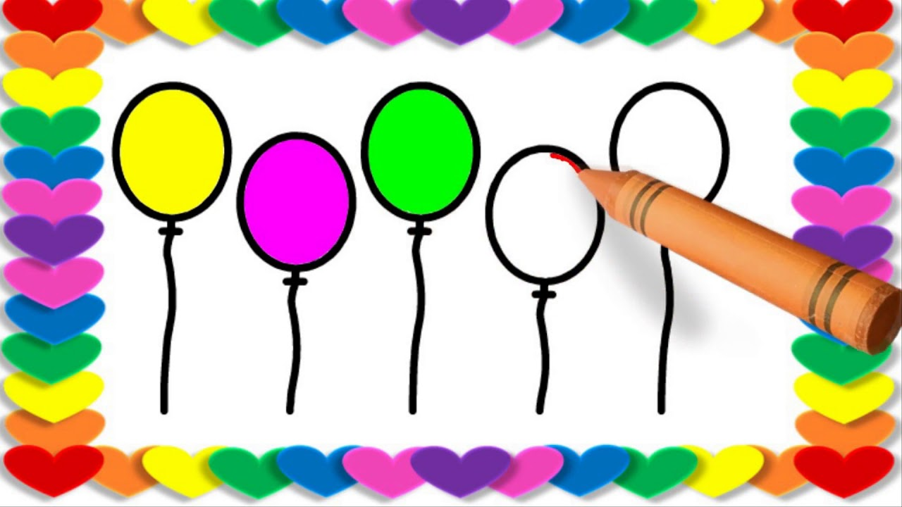 1280x720 Top Balloon Colorful Balloons Drawing Balloon Drawing Pictures
