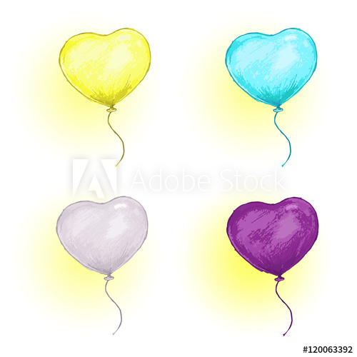 500x500 Colored Balloons Pencil Drawing Set Heart Balloon