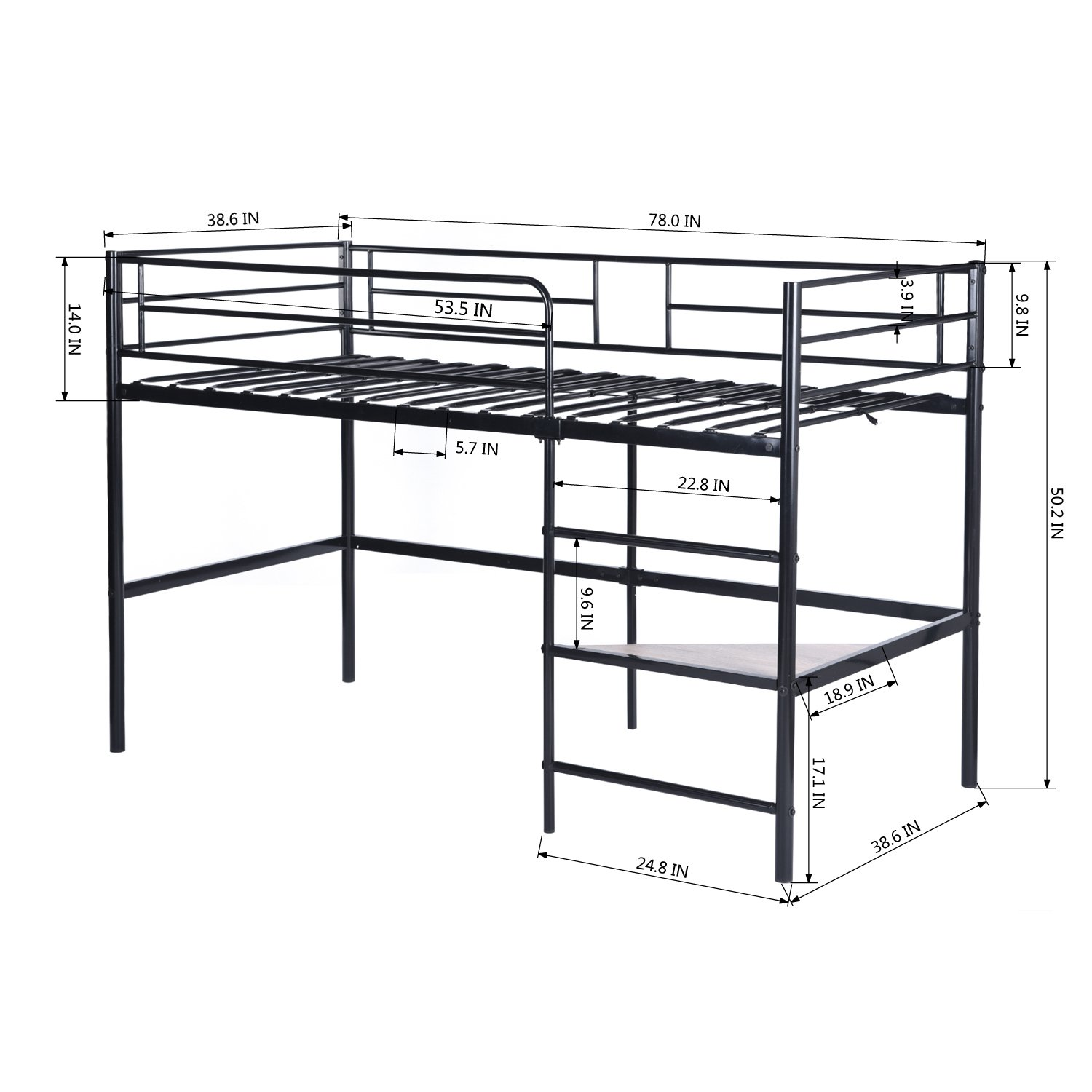 1500x1500 Greenforest Metal Loft Bed For Kids Twin Size Low Junior Bunk Bed
