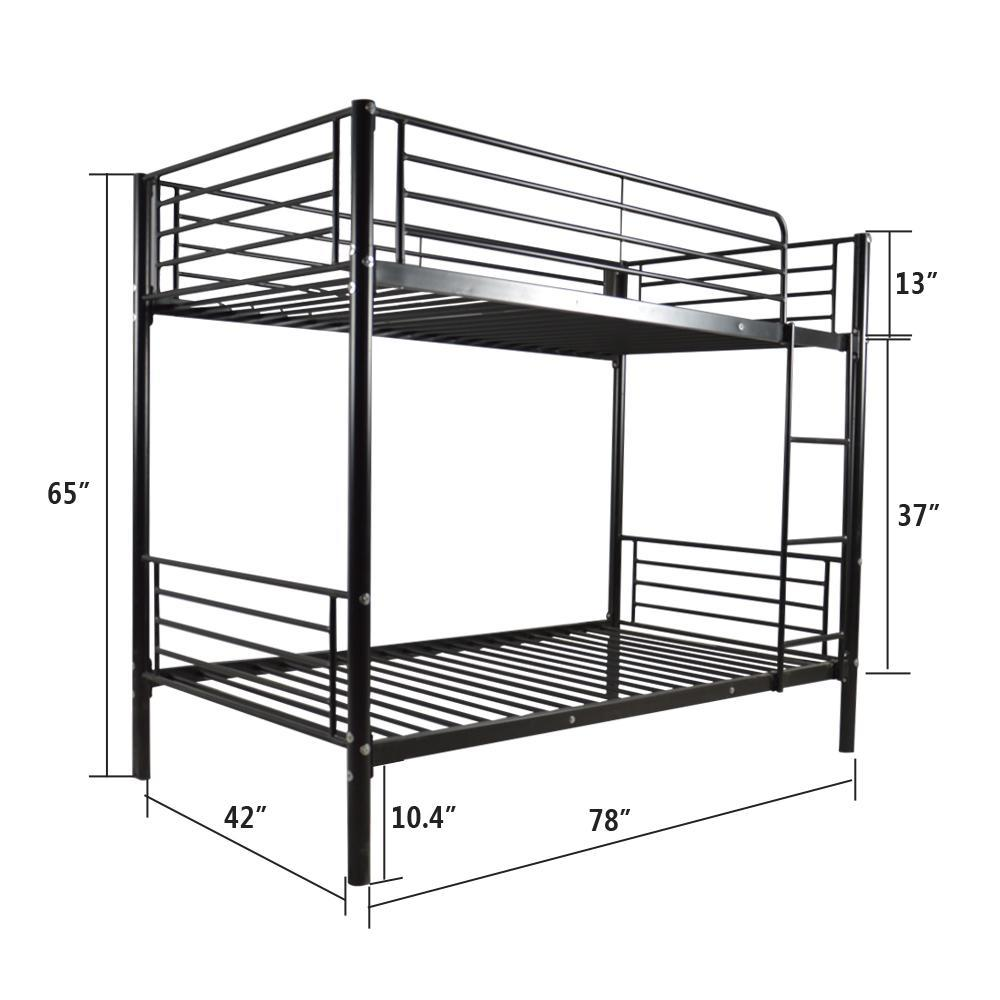 1000x1000 Iron Bed Bunk Bed With Ladder For Kids Twin Size Black Lontab