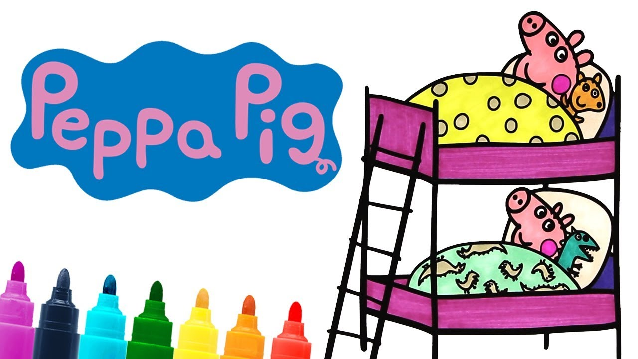 1280x720 Peppa Pig And George Pig Sleeping Time Bunk Bed Coloring