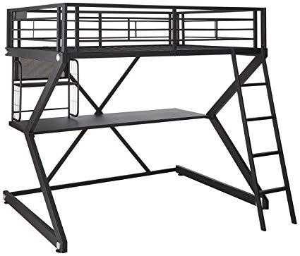 425x363 Parkview Full Workstation Loft Bed Black Kitchen Dining