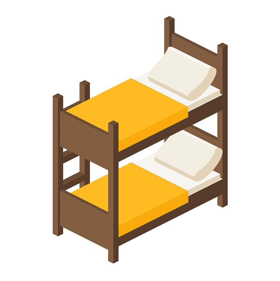899x900 Vector Wooden Bunk Bed For Children In Isometric