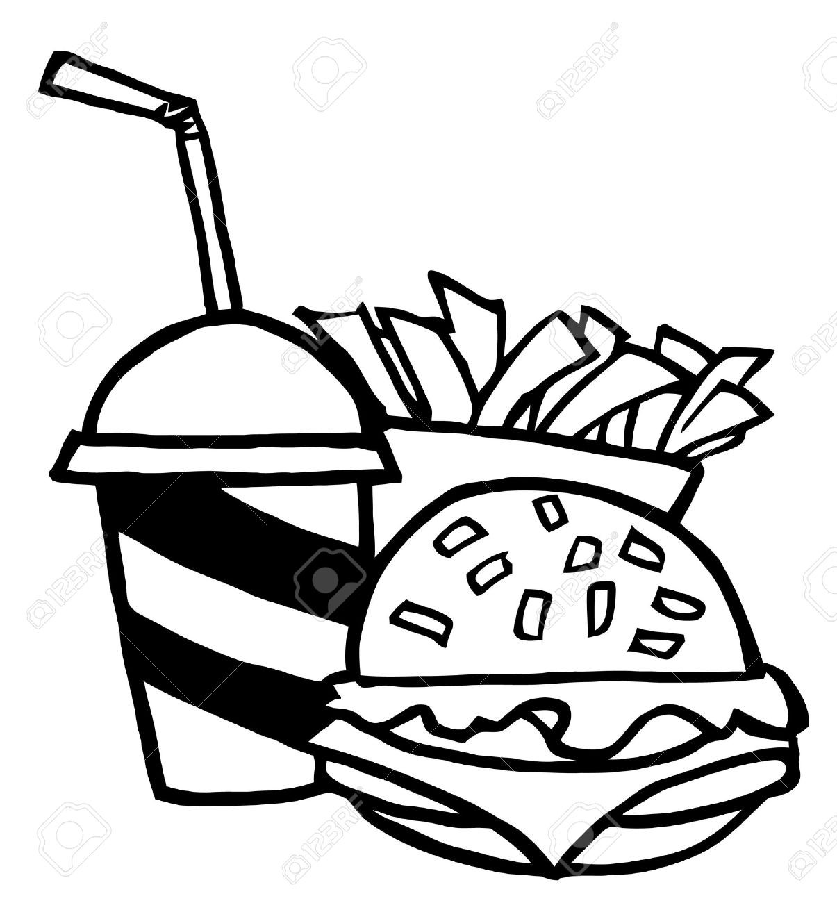 1205x1300 burger drawing burger fry for free download