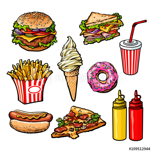 500x500 set fast food meal, sketch hand drawn elements of fast food, ice