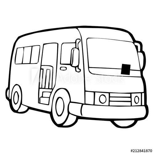500x500 Cute Bus Cartoon Illustration Isolated On White Background