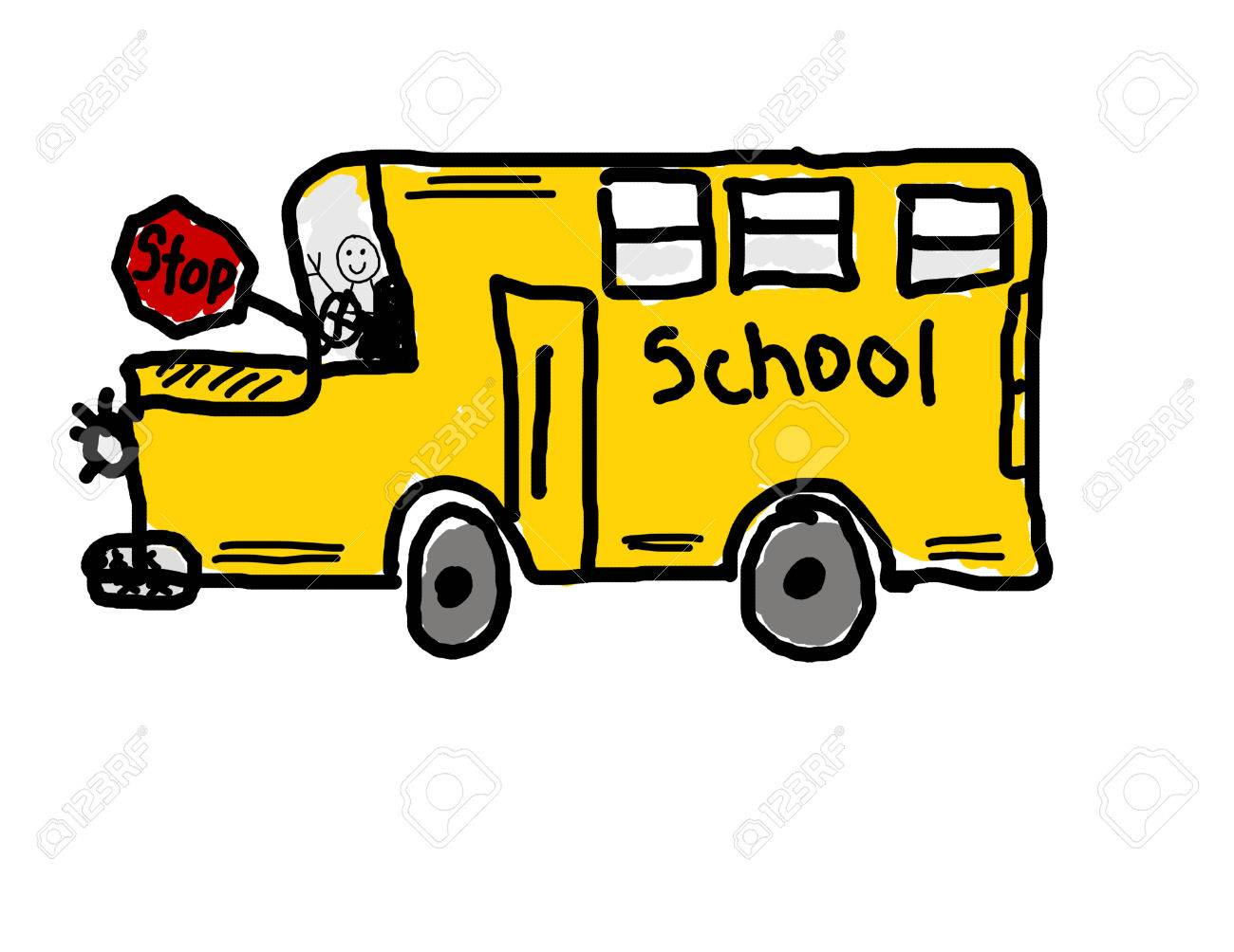 1300x1004 School Bus Cartoon Drawing Child's Drawing Of School Bus Royalty