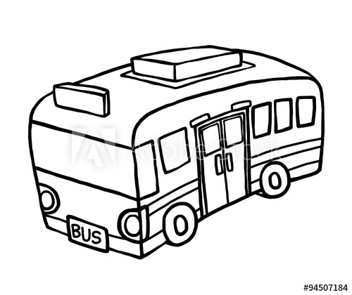 500x420 Bus Cartoon Vector And Illustration, Black And White, Hand Drawn