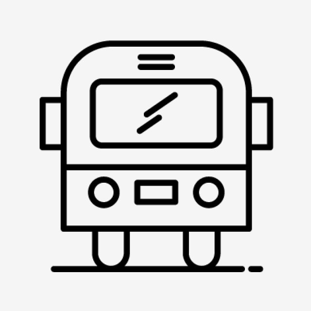640x640 schoo bus line black icon, school bus, bus, school png and vector