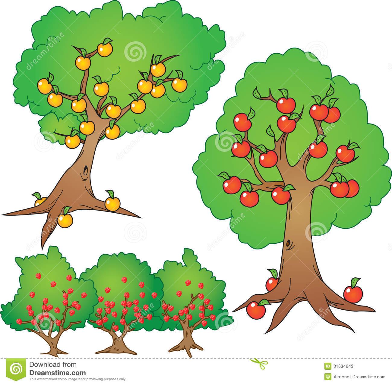 1300x1278 berry bush drawing apple, orange tree and berry bush stock vector